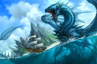 Dragon attacking on ship Wallpaper for Android, iPhone and iPad