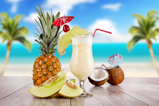 Coconut and Pineapple Cocktails Background for Android, iPhone and iPad