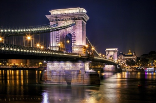 Chain Bridge in Budapest on Danube Background for Android, iPhone and iPad