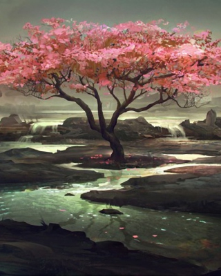 Blossom Tree Painting Wallpaper for HTC Titan