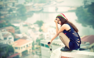 Asian Girl On Roof Wallpaper for Android, iPhone and iPad