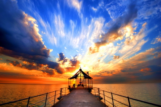 Sunset Pier Wallpaper for Android, iPhone and iPad