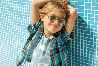 Stylish Little Boy In Sunglasses Background for Android, iPhone and iPad