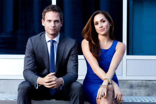 Troian Bellisario And Patrick J Adams in Suits Background for Android, iPhone and iPad