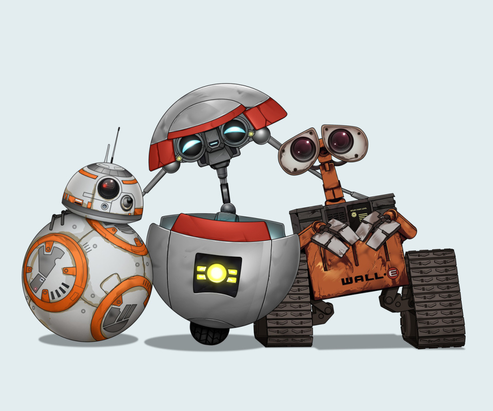 Star Wars and Walle wallpaper 960x800