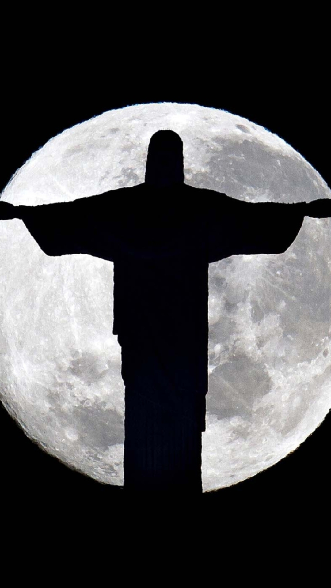 Full Moon And Christ The Redeemer In Rio De Janeiro