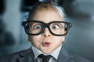Funny Child In Big Glasses Background for Android, iPhone and iPad