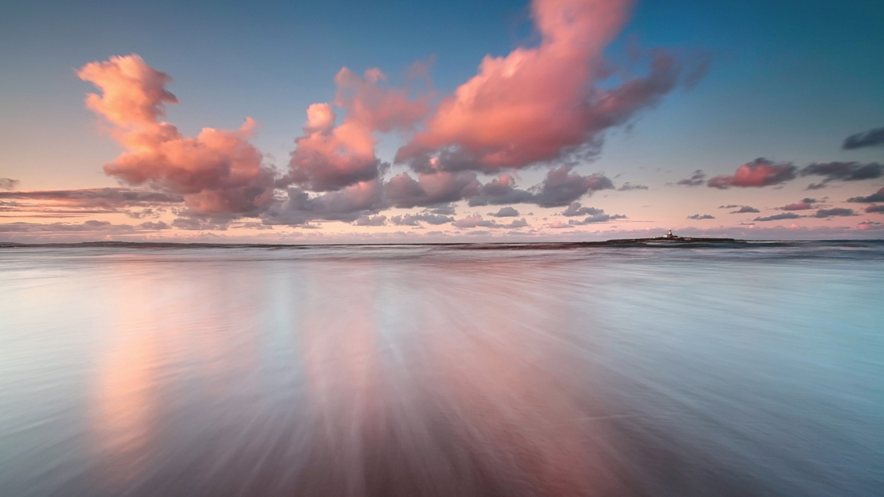 Beautiful Pink Clouds Over Sea