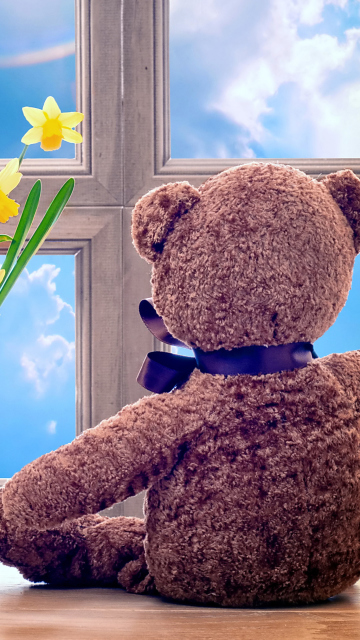 Screenshot №1 pro téma Teddy Bear with Bouquet 360x640