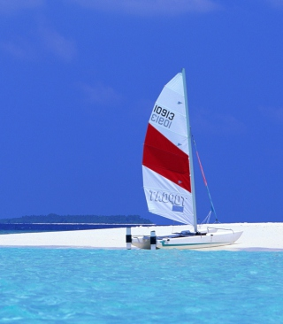 Sailing Boats On Exotic Beach Wallpaper for HTC Titan