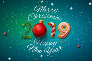 Merry Christmas and Happy New Year 2019 sfondi gratuiti per HTC Desire