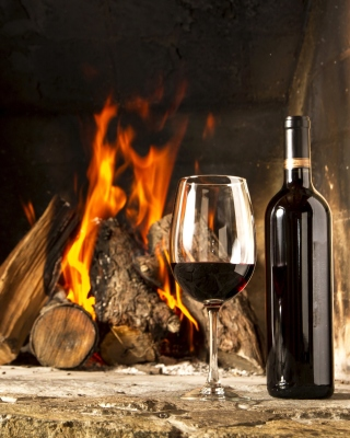 Free Wine and fireplace Picture for 640x1136