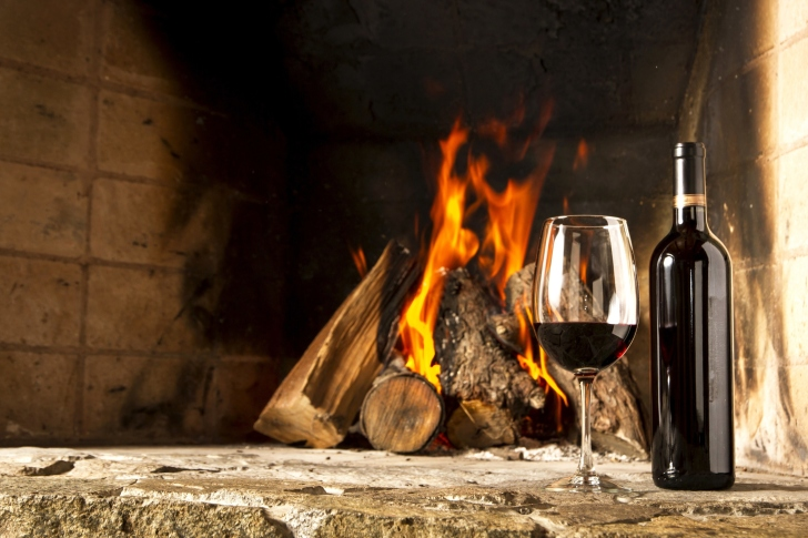 Wine and fireplace wallpaper