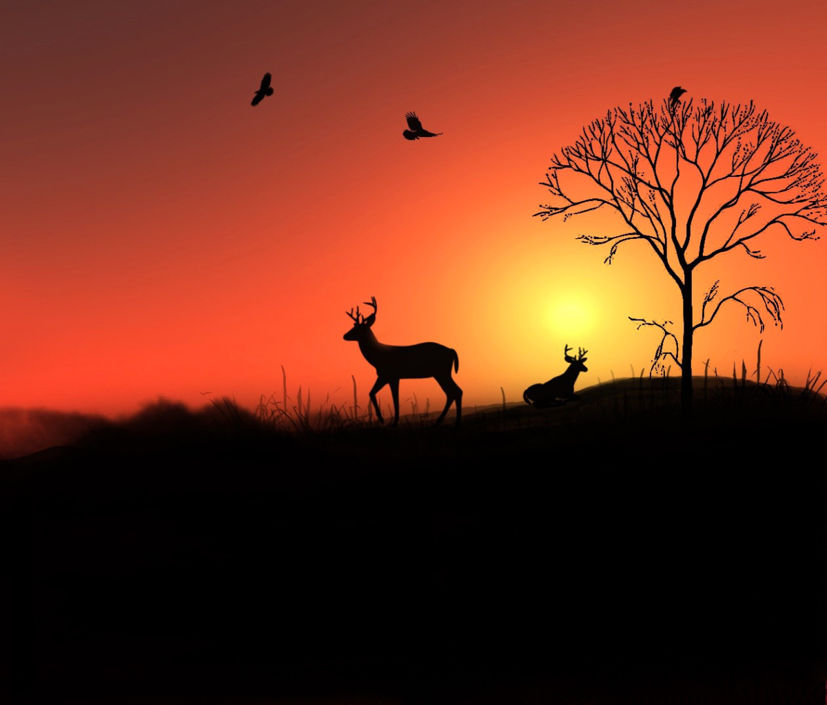 Screenshot №1 pro téma Deer Silhouettes At Red Sunset 1200x1024
