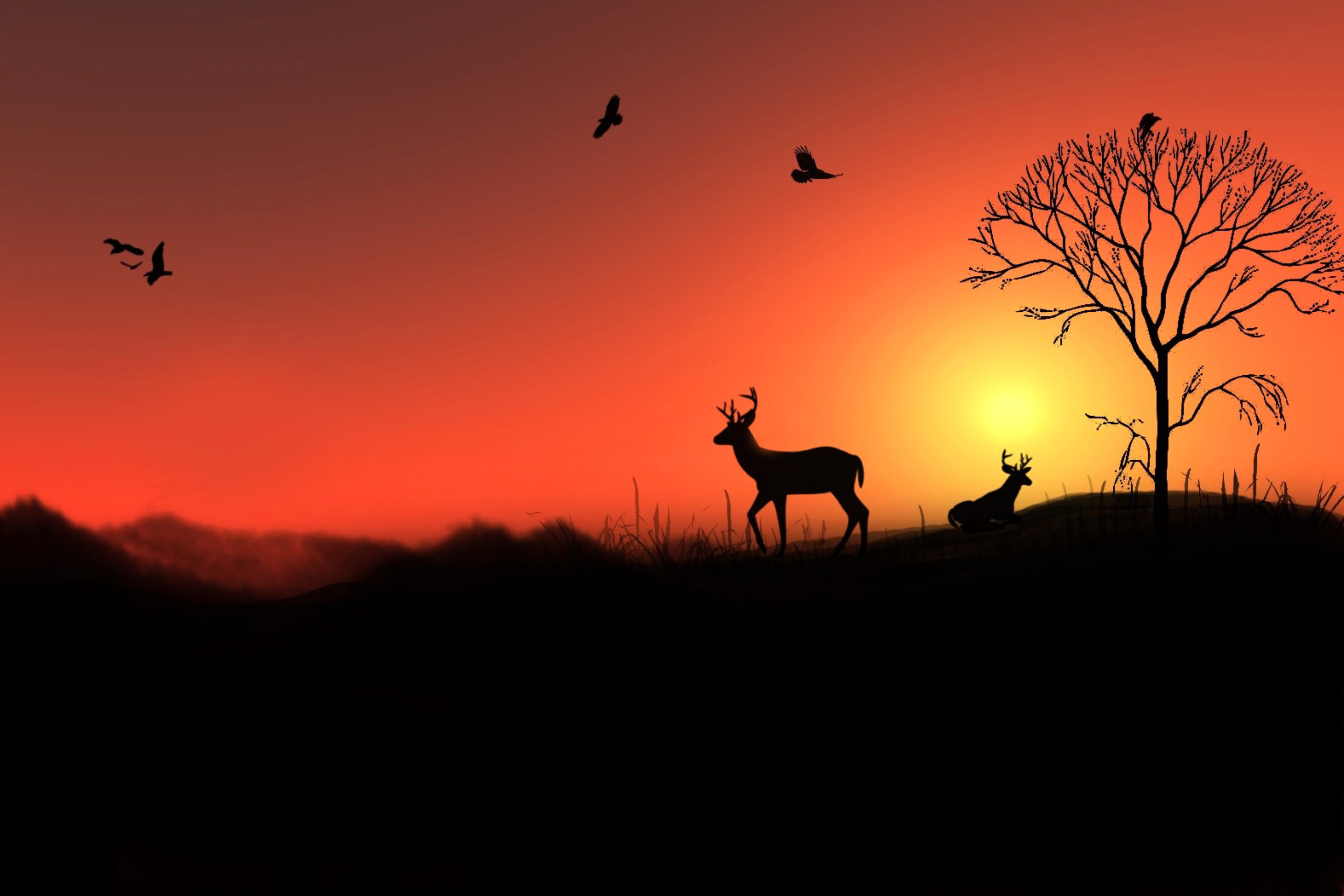 Screenshot №1 pro téma Deer Silhouettes At Red Sunset 2880x1920