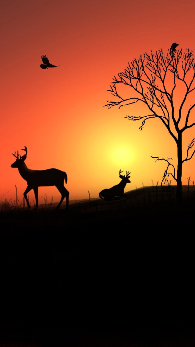 Screenshot №1 pro téma Deer Silhouettes At Red Sunset 640x1136