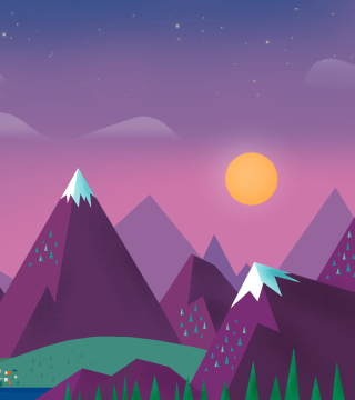 Kostenloses Purple Mountains Illustration Wallpaper für 208x208