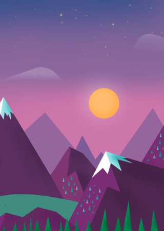 Purple Mountains Illustration sfondi gratuiti per Nokia Asha 306