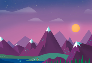 Purple Mountains Illustration Background for Android, iPhone and iPad