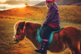 Kostenloses Little Girl On Pony Wallpaper für Android, iPhone und iPad