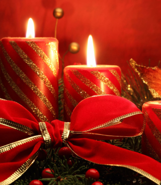 Red Candles And Ribbon Picture for 320x480