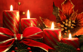 Red Candles And Ribbon - Fondos de pantalla gratis