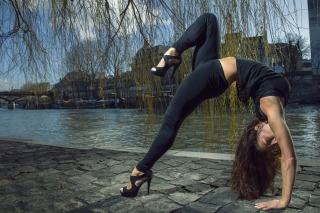 Gymnast Girl Outdoors Picture for Android, iPhone and iPad