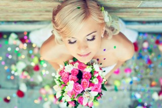 Cute Blonde Bride Background for Android, iPhone and iPad
