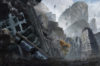 City in Ruins after Post Apocalypse Destruction Picture for Android, iPhone and iPad