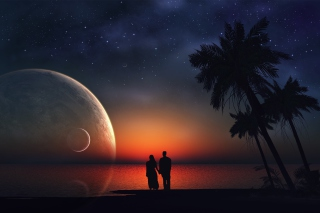 Romantic Night on Sea Background for 800x600