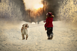 Winter Walking with Dog Wallpaper for Android, iPhone and iPad