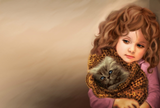 Little Girl With Kitten In Blanket Painting - Obrázkek zdarma