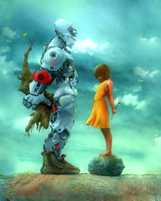 Girl And Robot Picture for Nokia Asha 311