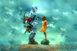 Girl And Robot Wallpaper for Android 2560x1600