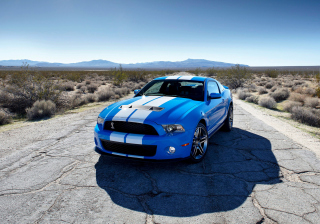 Blue Ford Mustang GT Background for Android, iPhone and iPad