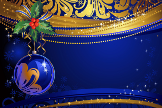 Christmas tree toy Blue Ball Wallpaper for Android, iPhone and iPad