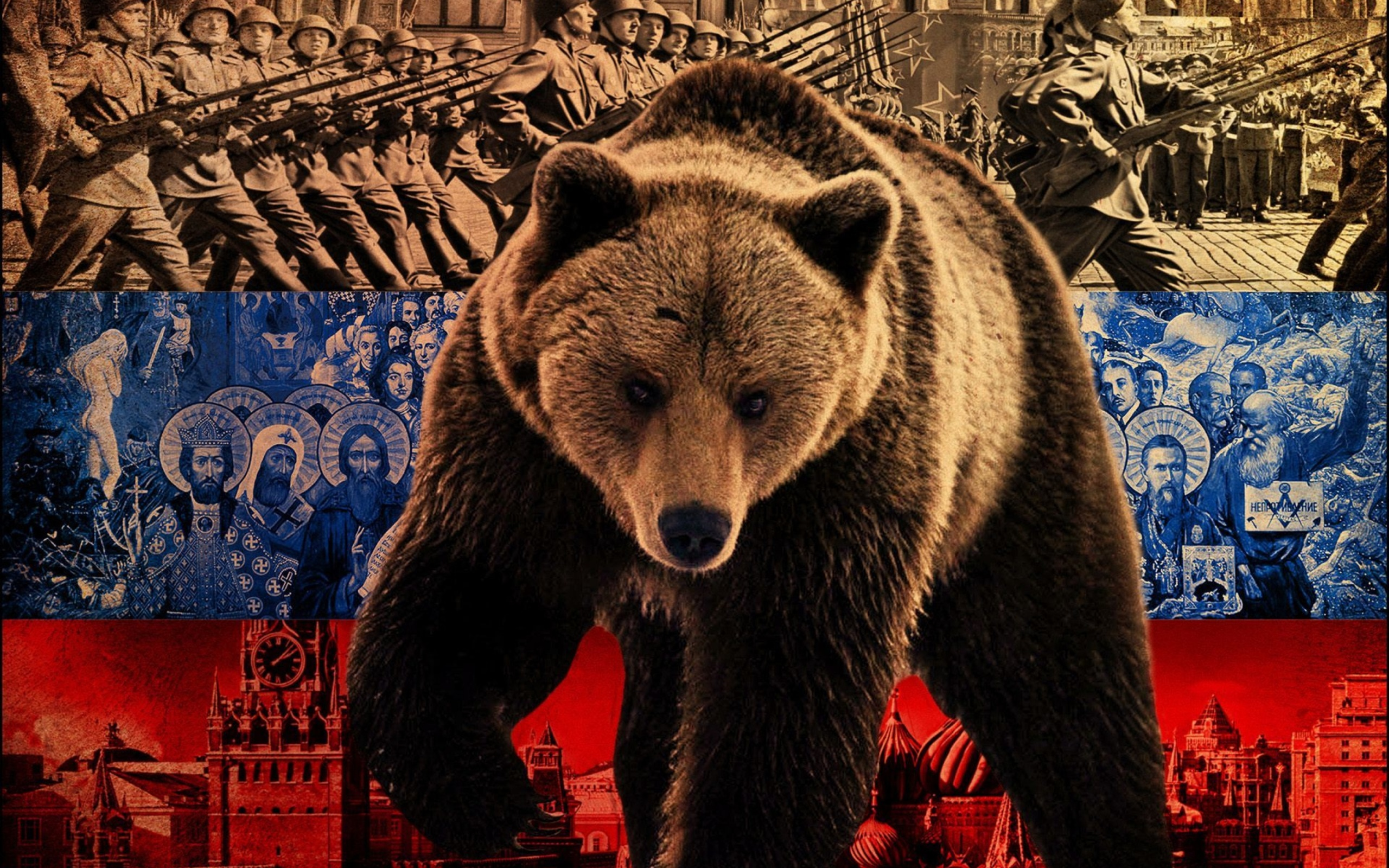 Screenshot №1 pro téma Russian Bear on Flag Background 2560x1600