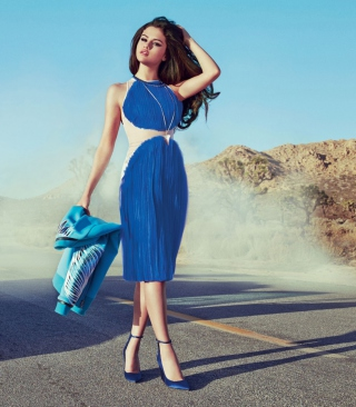 Free Selena Gomez Glamorous Blue Dress Picture for 480x800