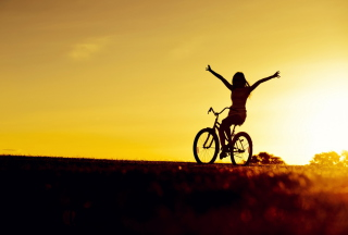 Bicycle Ride At Golden Sunset Background for Android, iPhone and iPad