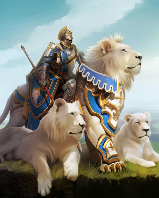 Knight with Lions sfondi gratuiti per iPhone 4S