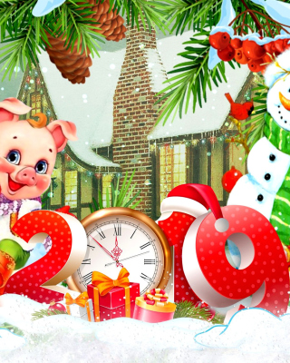 2019 Pig New Year Chinese Horoscope Background for HTC Titan