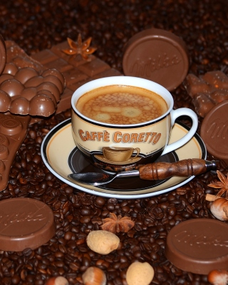 Coffee with milk chocolate Milka Wallpaper for Nokia Asha 306