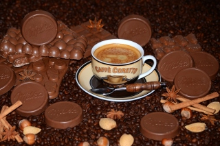 Coffee with milk chocolate Milka Wallpaper for Android, iPhone and iPad