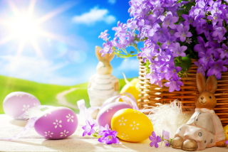 Easter Rabbit And Purple Flowers Wallpaper for Android, iPhone and iPad