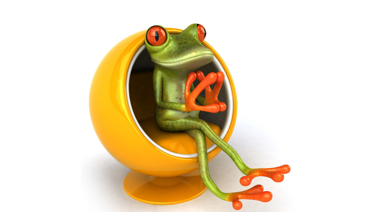 3D Frog On Yellow Chair