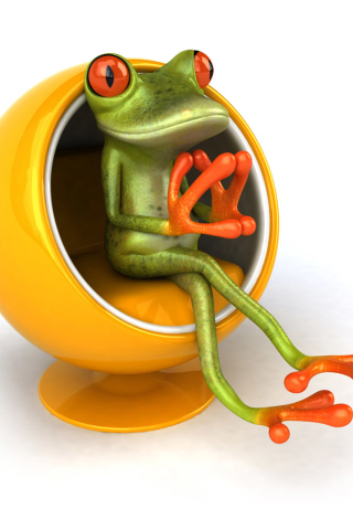 3D Frog On Yellow Chair para Huawei G7300