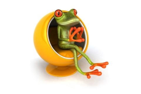 3D Frog On Yellow Chair para LG E400 Optimus L3