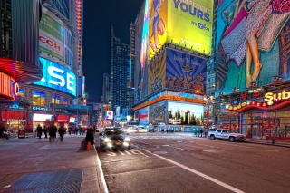 Free New York Night Times Square Picture for Android, iPhone and iPad