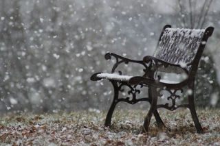 Snowy Bench Wallpaper for Android, iPhone and iPad