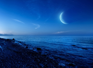 Moon On Gravel Beach Background for Android, iPhone and iPad